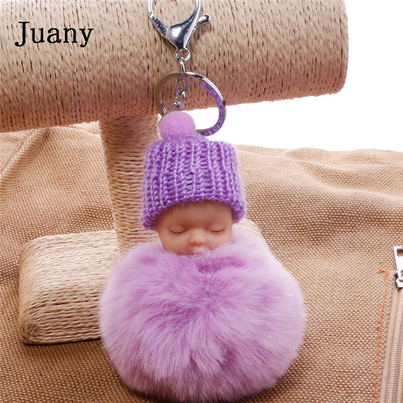 pompom key chain sleeping baby key chain cut rabbit fur ball keychain car key ring women keychian bag charm porte clef key ring