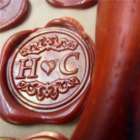 DIY Customize Double Name Heart Box Set Personalized Letter Sealing Wax Wedding Wax Seal Stamp Custom