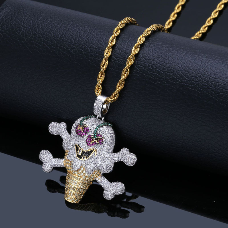Hip-hop dessin animé personnalité pirate crème glacée pendentif micro-clouté zircon hommes et femmes collier bijoux