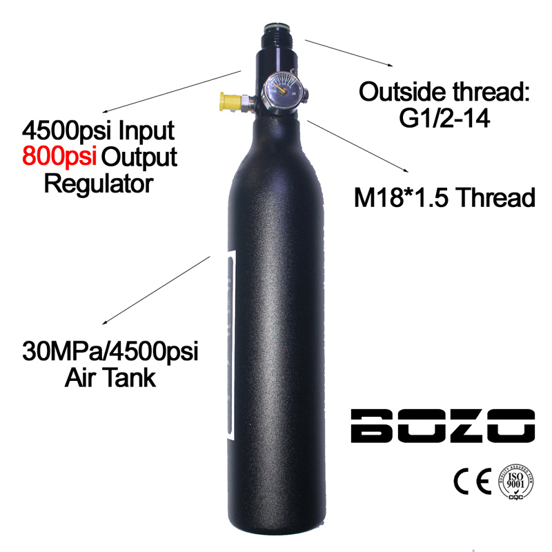 Paintball PCP Air Tank Cylinder 4500psi/30MPA 0.2L/0.35L/0.45L HPA High Compressed Air Bottle M18*1.5 regualtor 800/1800psi with gauge red safety 4500 psi valve for composite compressed air cylinder for paintball airsoft gun hunting