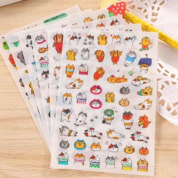 6sheets/pack per lot Kawaii Japan Cats' life PET sticker hot sell Students' decoration Diary stickers office school supplies