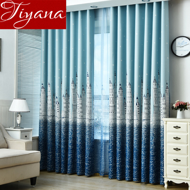 Merveilleux Cartoon Curtain Castle For Living Room Window Bedroom Kids Boys Room Sky Blue  Curtains Print Voile