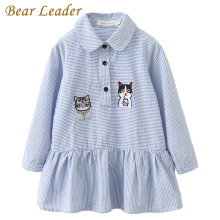 Bear Leader Girls Dress 2017 Fashion Shirts Dresses Long Sleeve Blue Striped Embroidery Trun-down Collar Design for Kids Dresses
