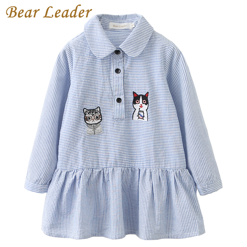 Bear Leader Girls Dress 2018 Fashion Shirts Dresses Long Sleeve Blue Striped Embroidery Trun-down Collar Design for Kids Dresses blue lace up design chimney collar cold shoulder long sleeves t shirts