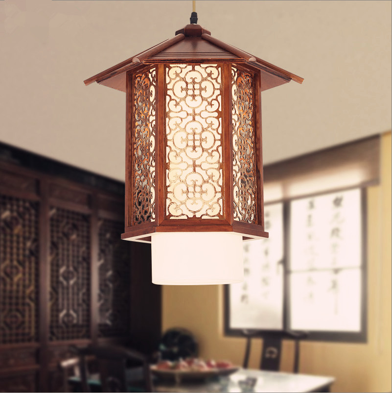 Chinese style antique coffee carved wood art Pendant Lights Nostalgic brief E27 lamp for balcony&corridor&porch&stairs MYR009