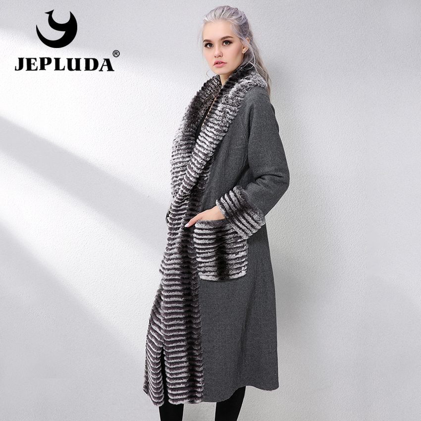 JEPLUDA Fashion Double-sided Natural Real Rex Rabbit Fur Coat Wool Blends Genuine Leather Jacket Women New Real Fur Jacket Women