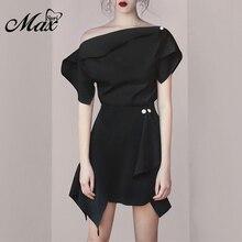 Max Spri 2019 New Fashion Party Style Women Dress Solid Black One Shoulder With Belt Asymmetric Hem Mini Party Dress pink off the shoulder curved hem mini dress with waist belt