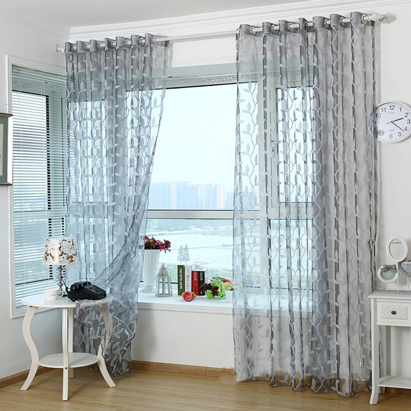 3d Tulle Sheer Curtains For Living Room Light Grey Leaves Window Curtain Valance Elegant