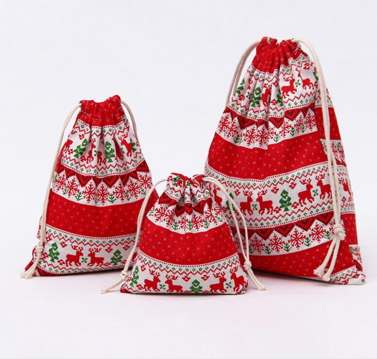 3PCs Ethnic Style Drawstring Bags Canvas Travel Storage Bags Red Organizer Bag For Clothing Child Toy Candy Tea Gift Bags Bolsa