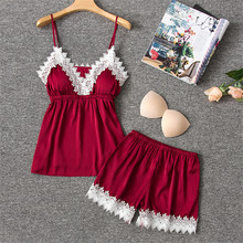 Herislim Silk Pajamas Sets Women Spring Summer Sleepwear Sexy Lace Trim Lingerie Cami And Shorts 2Pcs Satin Pyjamas Home Clothes