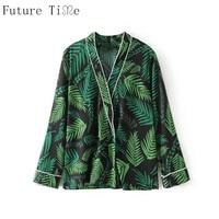 Future Time Women Blouse Kimono Print Shirt Sleeping Style Palm Leaves Printing Shirt Turn Down Collar
