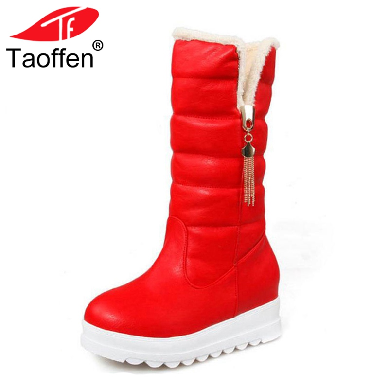 TAOFFEN Snow Boots Platform Women Winter Shoes Waterproof Mid Calf Boots Half Short Fur Boots Thickened Fur Botas Size 33-43 women high heel half short boots thickened fur warm winter plush mid calf snow boot woman botas footwear shoes p21994 size 34 39