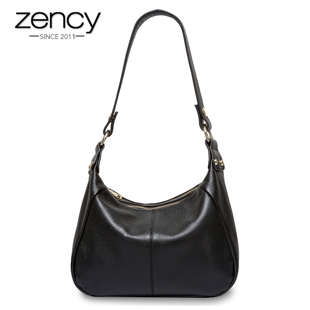 Zency 100% Genuine Leather Classic Black Women Shoulder Bag Fashion Crossbody Messenger Purse For Female High Quality Handbag zency 100% genuine leather women shoulder bags fashion casual crossbody messenger bag lady beautiful flap purse black handbag