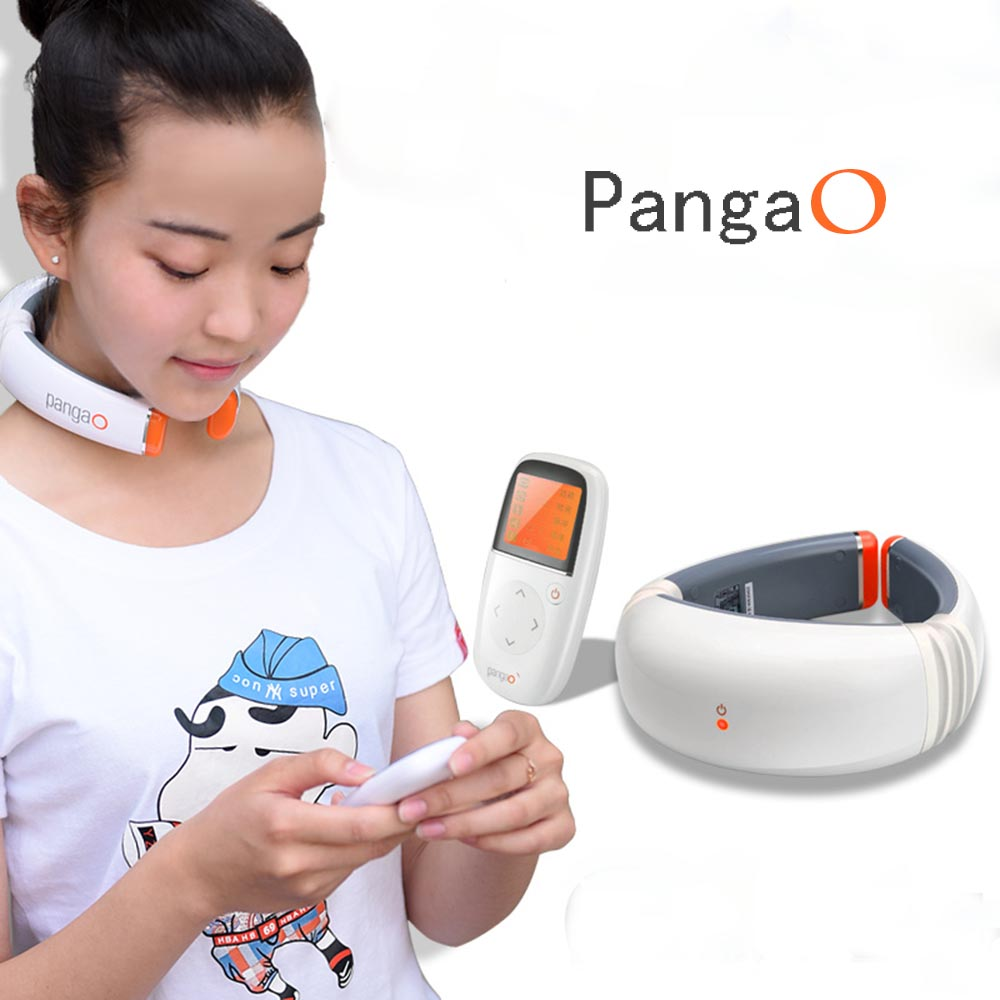 Pangao PG-2601B8 3D Neck Massager Wireless Remote Control Neck Therapy Massage Treatment Far-Infrared Heating Cervical Vertebra chronic prostatitis treatment cushion far infrared heat plus vibration massage therapy for prostate discomfort relief