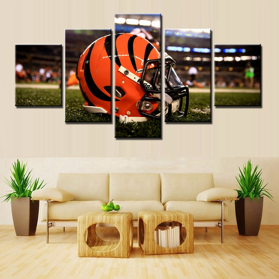 Cincinnati Bengals Football Cap HD Prints Fashion Home Decor Modular Good  Quality Artwork Canvas Painting For