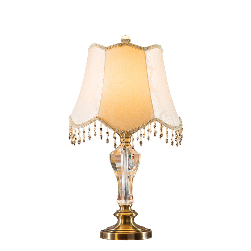 High End European Luxurious K9 Crystal Fabric With Tassel E27 Dimmerable Table Lamp For Living Room Bedroom Wedding Deco 1109