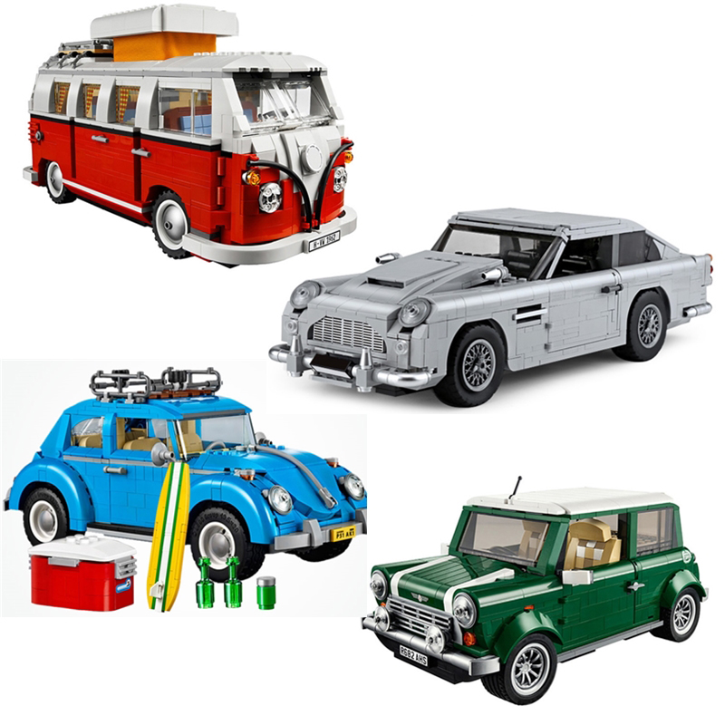 Creator Aston Car Model Gift Volkswagen T1 Camper  Beetle  Cooper Education Toy Compatible Legoingly Brick Toys For Children