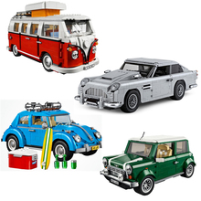 Creator Aston Car Model gift Volkswagen T1 Camper  Beetle  Cooper education Toy Brick toys for children Digital building blocks 21001 lepin creator t1 camper van model building blocks classic enlighten figure toys for children compatible legoe