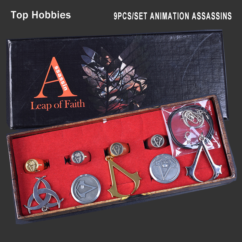 9PCS/Set Animation Assassins Creed Necklace Brooch Rings Set Animation Game Cosplay Accessories Gift Box Collections Children аксессуары для косплея xuan xuan cos animation studio cosplay assassin s creed iii connor