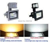 Darmowa wysyłka 10 w 20 w 30 w 50 w podczerwieni motion sensor led reflektor ciepły biały zimny biały kolor stop aluminium + szkło hartowane