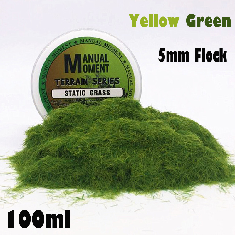 Sandboxie Scene Model Materia  Yellow Green Turf Flock Lawn Nylon Grass Powder STATIC GRASS 5MM Modeling Hobby Craft  Accessory
