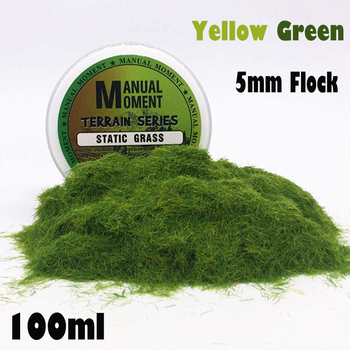 Sandboxie Scene Model Materia Yellow Green Turf Flock Lawn Nylon Grass Powder STATIC GRASS 5MM Modeling Hobby Craft Accessory 5mm Flock Static Grass Fiber HOBBY ACCESORIES Type: Model