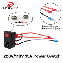 3DSWAY 3D Printer Parts Power Supply Socket Switch With Fuse 220V/110V 15A Short Circuit Protection Safety 20cm Cable
