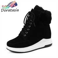 DORATASIA Large Size 33 43 Platform Winter Sneakers Women Winter Warm Fur Ankle Boots Female lace up Wedges Shoes Woman