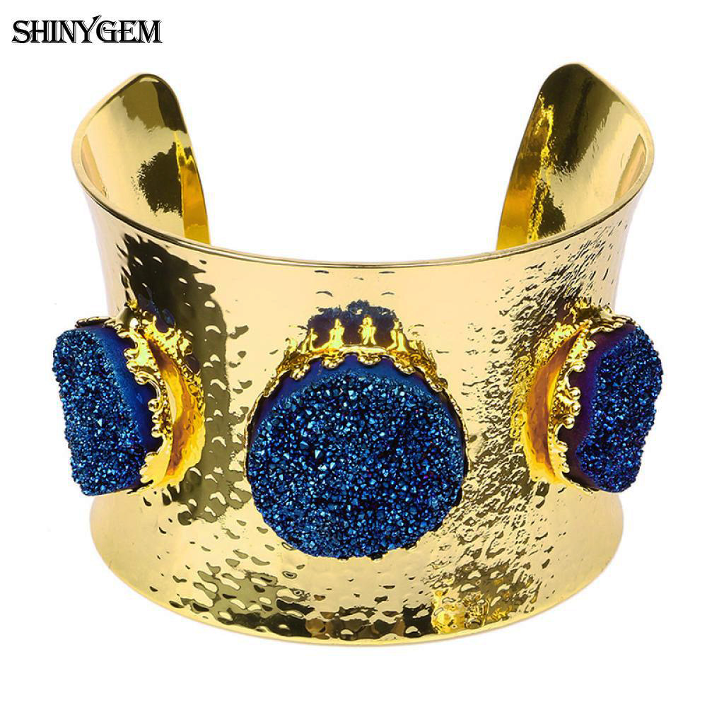 ShinyGem Big Wild Crystal Bracelets Bangles Natural Druzy Stone Open Cuff Bangle Gold Plating Large Big Wrist Bracelet For Women