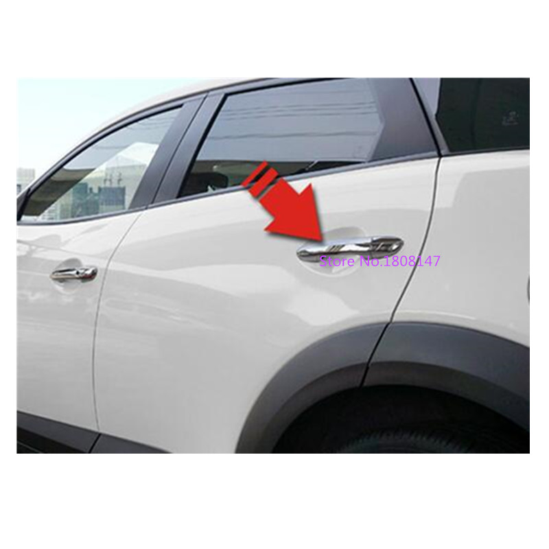 Car Cover Detector Sticks Frame Panel Lamp Trim ABS Chrome Door Handle Armrest 4pcs For <font><b>Mazda</b></font> CX-3 <font><b>CX3</b></font> 2017 2018 <font><b>2019</b></font> 2020 image