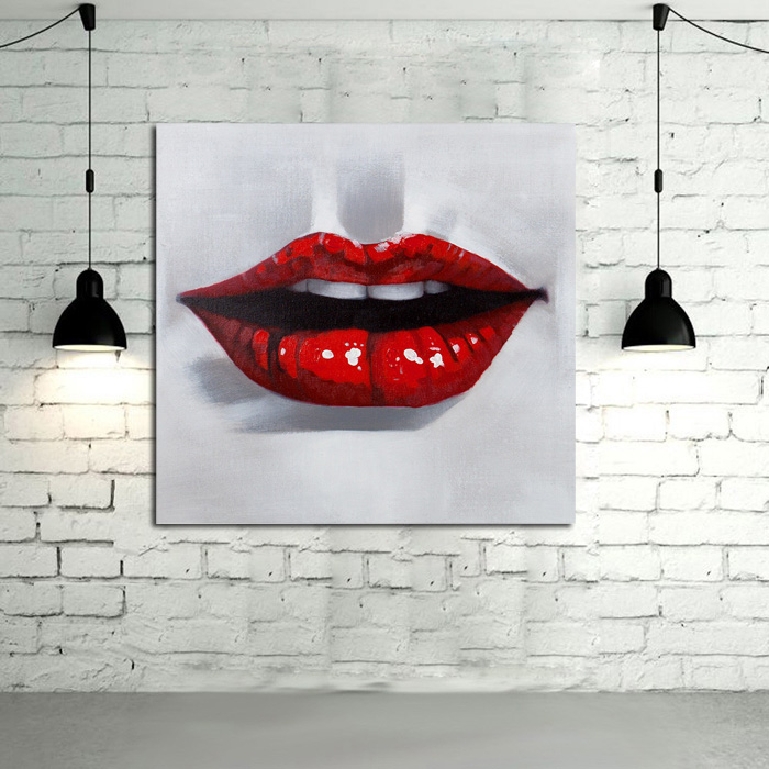 Decorative Canvas Oil Painting Canvas Sexy Red Lips Wall