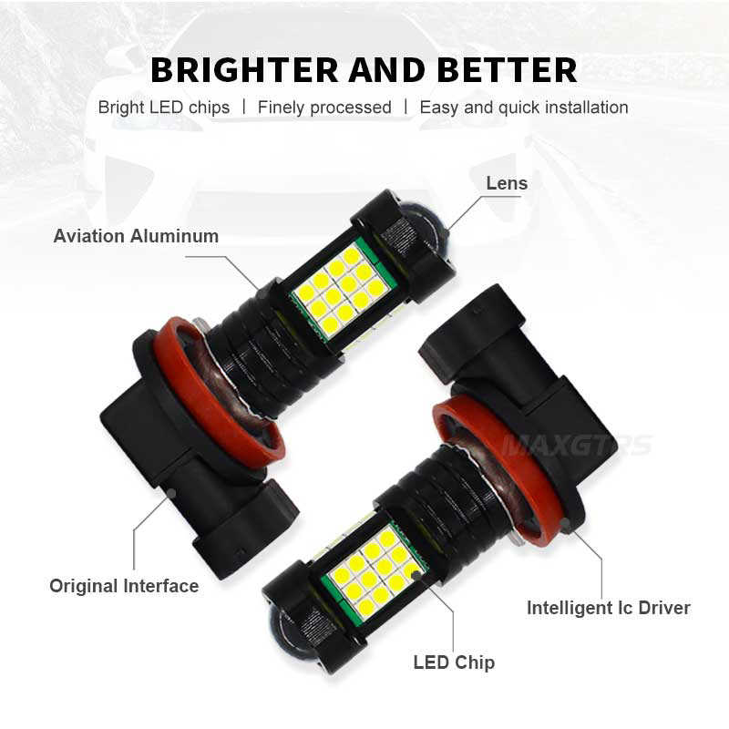 2x H8 H11 9005 HB3 9006 HB4 H16 36SMD 3030 Chip Led Bulb Car Led Headlight Fog Driving Lights DRL Lamp White Amber 6000K LENS
