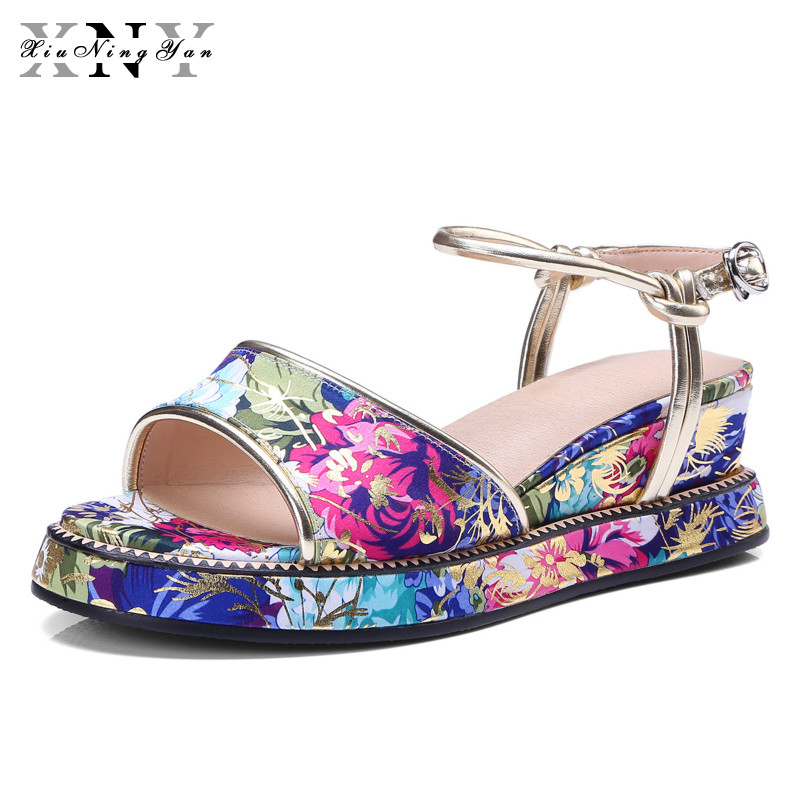 XiuNingYan Women Sandals 2018 New Fashion Casual Shoes Comfortable Wedges Sandals Platform Genuine Leather Woman Summer Shoes woman fashion high heels sandals women genuine leather buckle summer shoes brand new wedges casual platform sandal gold silver