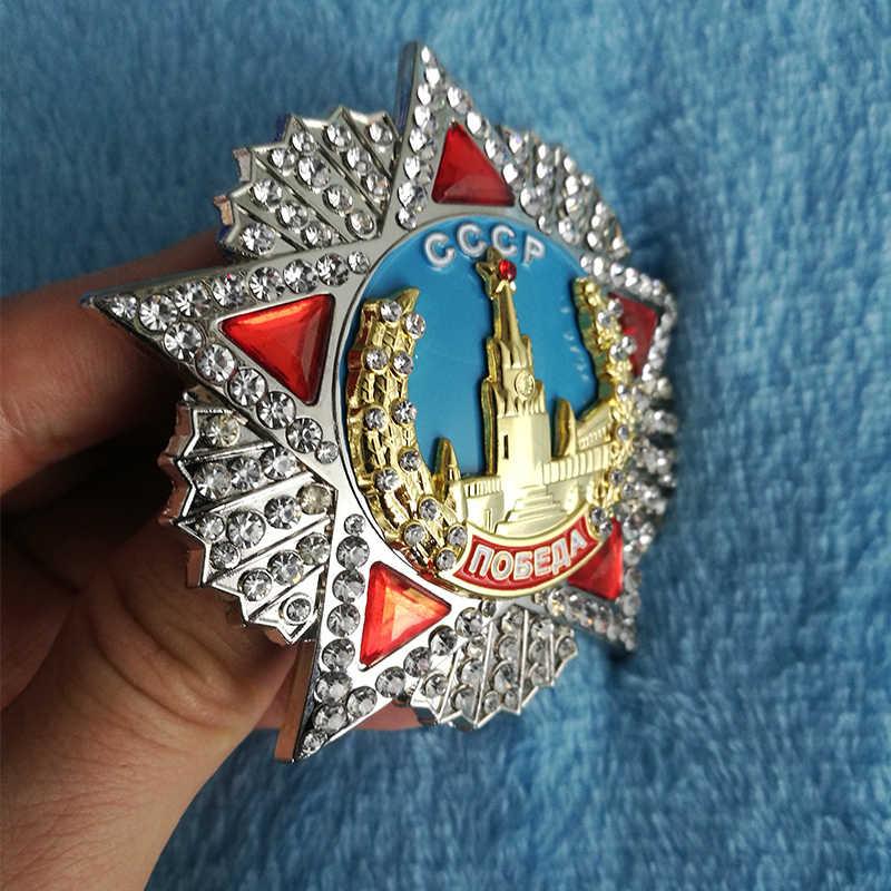 WW2 Gran Medalla de Honor soviética WWII URSS ruso Bagde CCCP Orden de la victoria pines incrustaciones diamante esmalte medalla regalos