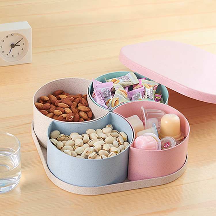Plastic Food-Storage Kitchen Creative Candy/dried Portable With Lid 4-Grid Trays Fruit-Boxes/fruit-Plate
