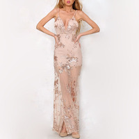 Europe And America Deep V Neck Backless Sequined Dresses Bodycon Maxi Long Sexy Dress KLY21672