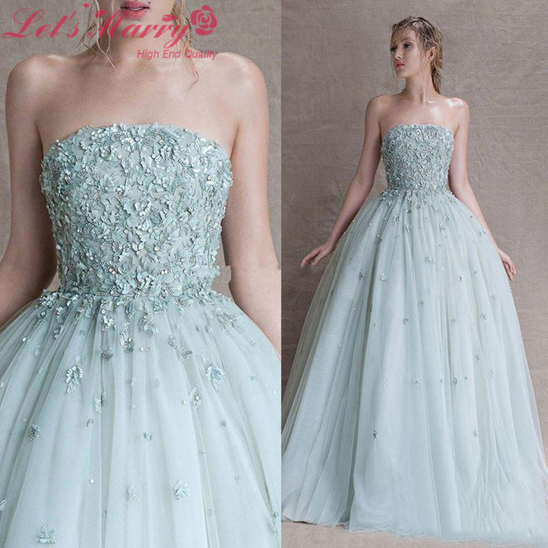WDZ 173 Ice Blue Off Shoulder Ball Gown Prom Dress Flowers Crystal ...