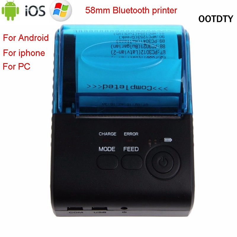 OOTDTY ZJ - 5805 Bluetooth 4.0 Android 4.0 POS Receipt Portable Thermal Printer Bill Machine For Supermarket EU/US/UK Plug
