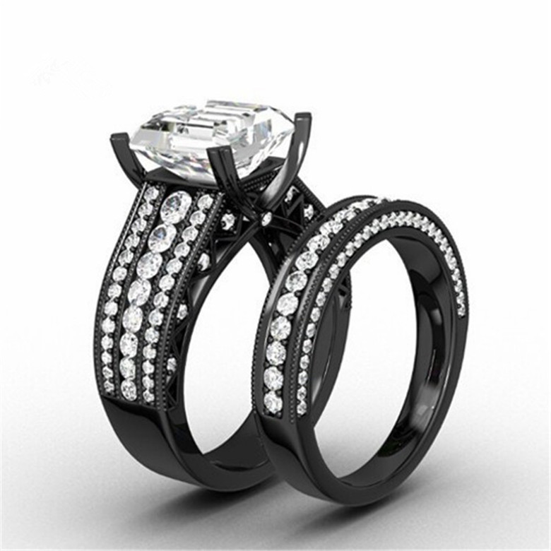 Black Gold Filled Wedding Ring Band Princess Cut White CZ Halo