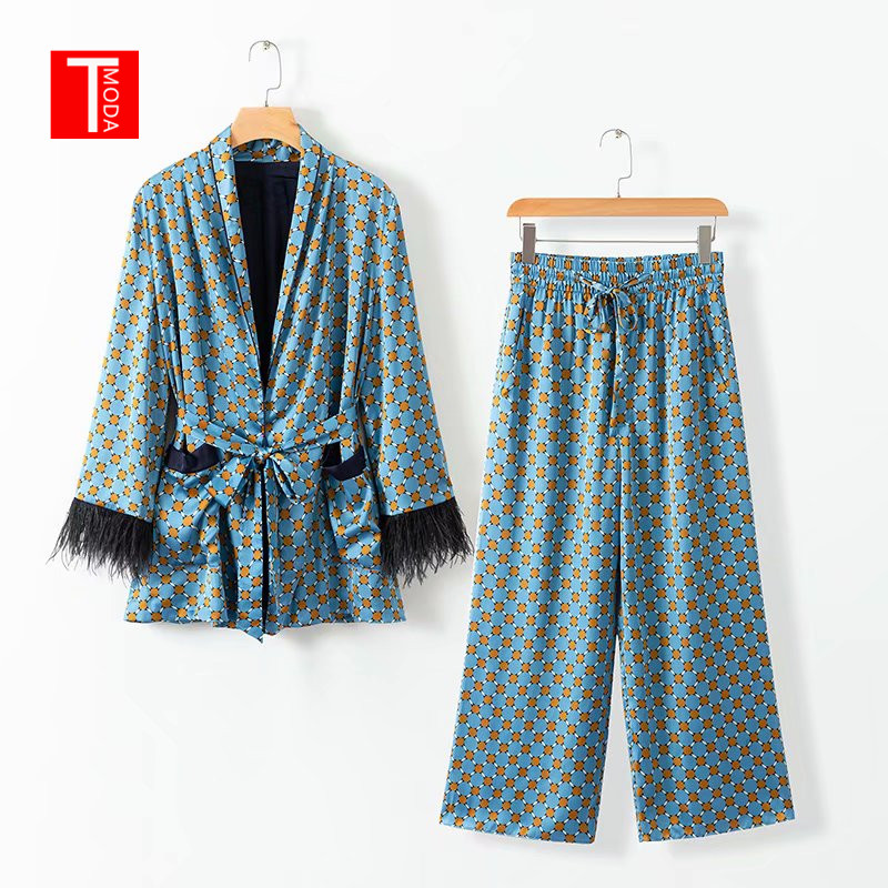 2019 Spring Jacket Bow Tie Sashes Pockets Tassel Decorate Outerwear Women Loose Kimono Coat Dot Print Wide Leg Pants 2 Pcs Sets
