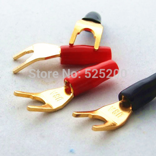 20pcs GOLD Plated Solderless Speaker Cable Banana Y Spade Plug connector 10pcsred 10pcsblack cover gold plated connectors banana musical speaker cable plug durable serrate adapter for 4mm audio cable