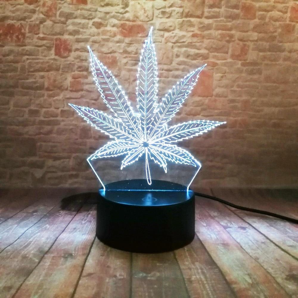 Piękna lampa LED Illusion 3D z lampką nocną w kształcie liścia - Lampki nocne - Zdjęcie 3