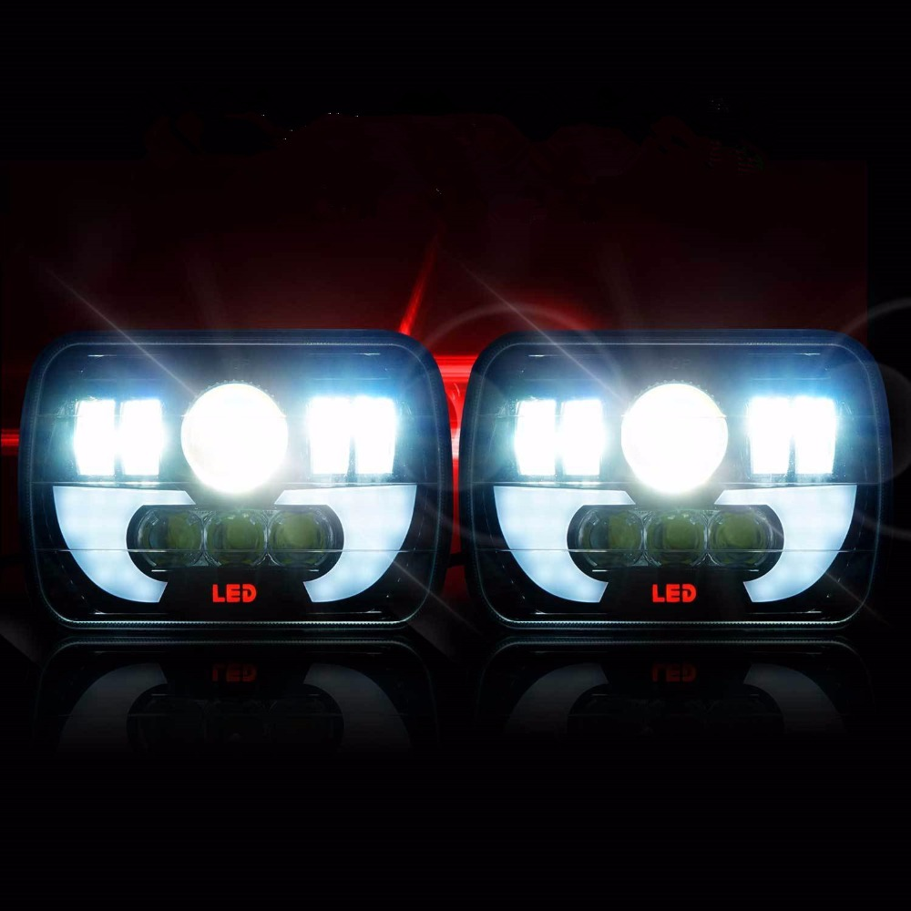 2x New LED 5 X 7 DEMON LED Headlight Replacement for Jeep Cherokee XJ Trucks