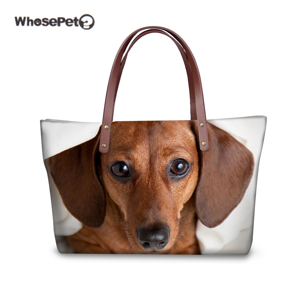 WHOSEPET Beach Bag Handbag Shoulder Bags for Women Dachshund Schnauzer Pug Chihuahua Pattern Top handle Bags