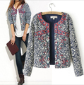 2014 New Women Vintage Chinese Blue White Porcelain Print Embroidery Wadded Coat Outerwear Casual Jakcet Cotton-padded jacket