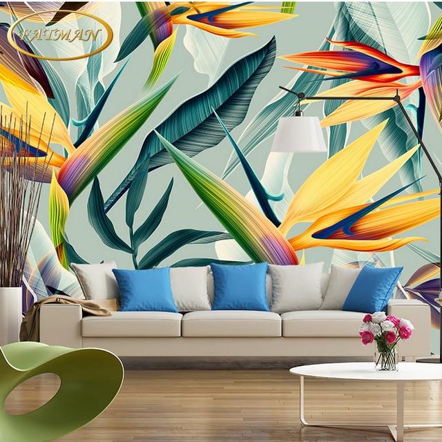 Custom Photo Wallpaper Hand Painted Tropical Jungle Colorful Leaf Mural Bedroom Restaurant