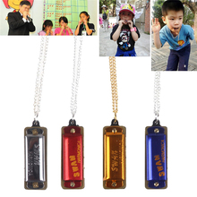 SWAN 2pcs Mini Harmonica 4 Hole 8 Tone Necklace Harmonica Mouth Organ Musical Instruments for Baby Kids Children Toy Gift недорого
