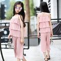 Girl Chiffon New Pattern Children Summer Wear Korean Bouffancy Cake Jacket Wide Leg Pants Twinset Crushed Dress 3 Colour
