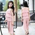 Menina Bouffancy Chiffon Novo Padrão Crianças Desgaste do Verão Coreano Bolo Jaqueta Ampla Perna Calças Twinset Vestido 3 Cor Esmagado