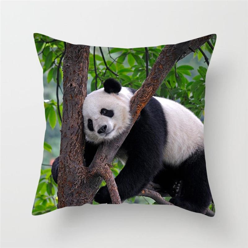 Fuwatacchi Sports Panda Printed Throw Pillows Cushion Cover Animal Pillow Cover Decorative Pillowcase For Home Sofa New 2019